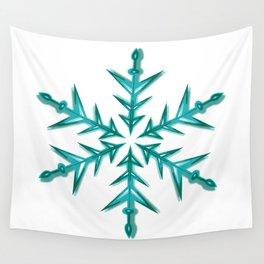 Minimalistic Aquamarine Snowflake Wall Tapestry