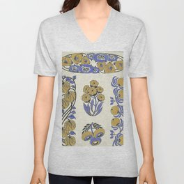 pretty yellow floral pattern Unisex V-Neck