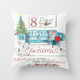 EIGHTH DAY OF CHRISTMAS WEIMS Throw Pillow