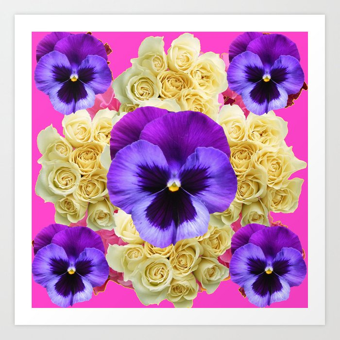 Purple pansy flowers ivory roses pink art art print by sharlesart purple pansy flowers ivory roses pink art art print mightylinksfo