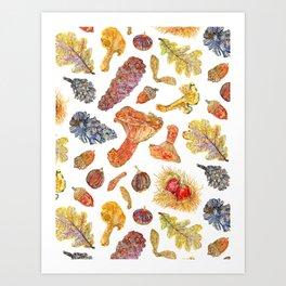 Forest Treasures - White Art Print