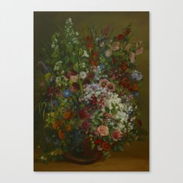 18th century old painting of flowers in a vase Canvas Print