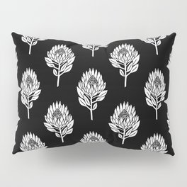 Linocut Protea flower printmaking pattern black and white floral Pillow Sham