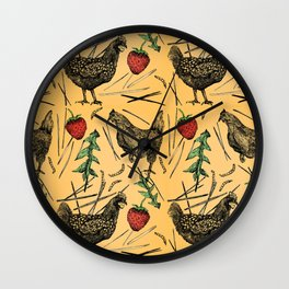 Charming Chickens Wall Clock