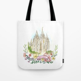 Salt Lake City LDS watercolor Temple with flower wreath Tote Bag