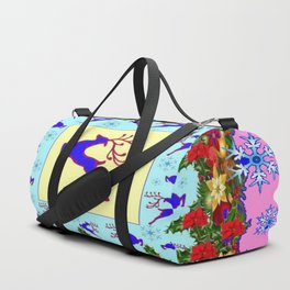 PINK ART LEAPING DEER POINSETTIAS & SNOWFLAKES CHRISTMAS Duffle Bag