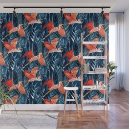 Birds and Reeds in Red and Blue Wall Mural