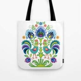 Polish Folk Design Two Roosters Tote Bag