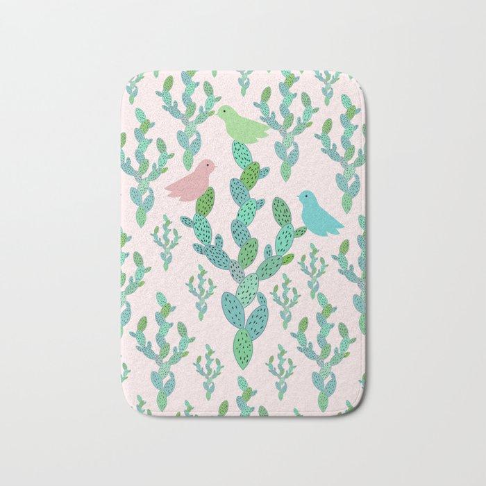 Birds and cacti Bath Mat