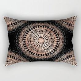 Rose Gold Black Mandala Rectangular Pillow