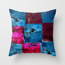 Blue pink square Throw Pillow