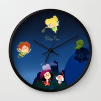 peter pan Wall Clocks featuring Peter Pan by UniverseSunny