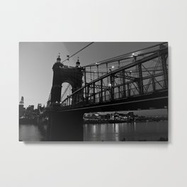 Roebling Bridge B & W Metal Print