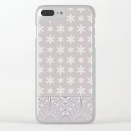 Lacy Mocha Pattern with Creamy Chenille Stars Clear iPhone Case