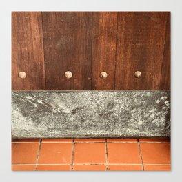 Vintage Wooden Door and Terra Cotta Tile Floor Canvas Print
