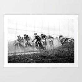 Motocross black white Art Print