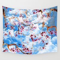 sakura Wall Tapestries featuring SAKURA by sametsevincer