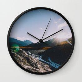 Glacial Meltwater Sunrise - Kenai Fjords National Park Wall Clock