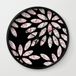 Marbled Flowers Pattern Wall Clock