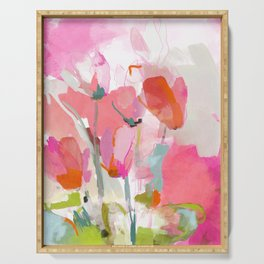 Floral abstract pink art Serving Tray