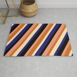 Eye-catching Black, Dark Salmon, Chocolate, Beige, and Midnight Blue Colored Striped Pattern Rug