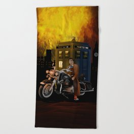 10th Doctor who with Big Motorcycle Beach Towel