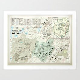 Adirondack 46er [vintage inspired] High Peaks area map Art Print
