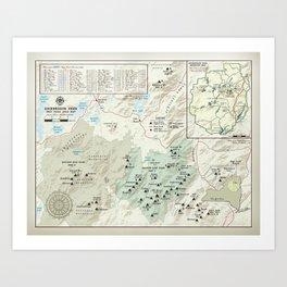 Adirondack 46er [vintage inspired] High Peaks area map Art Print