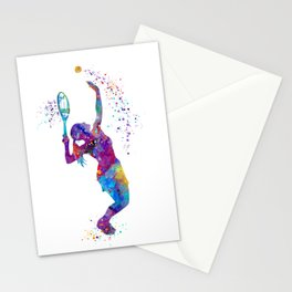 Girl Tennis Watercolor Art Print Sports Nursery Home Decor Kids Room Sports Painting Gifts Stationery Cards