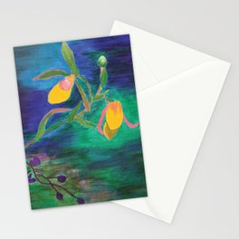 Yellow Lady Slippers: Orchid Series Stationery Cards
