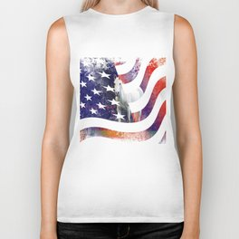 White Horse And American Flag By Annie Zeno Biker Tank