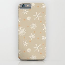 Snowflakes and Stars on Kraft Paper iPhone Case