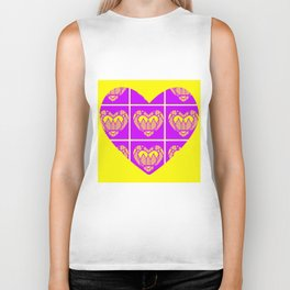 Purple and Yellow Patterns and a Heart Biker Tank