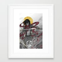 mikasa Framed Art Prints featuring Mikasa by lovelylion