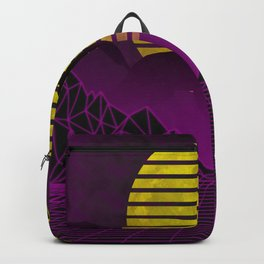 Vaporwave cyberpunk Wolf howling at the moon with kanji text print Backpack
