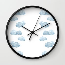 Baby blue watercolor clouds Wall Clock