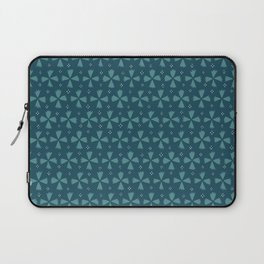 Geometric Floral Pattern With Dots / Teal Laptop Sleeve