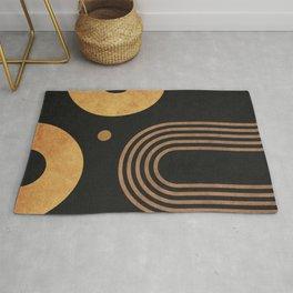 Transitions - Black 03 - Minimal Geometric Abstract Rug