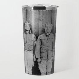 American, British, French, & German Gas Masks Travel Mug