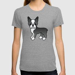 Black Boston Terrier Cute Cartoon Illustration T-shirt
