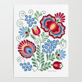 Moravian Folk Design Red Poster