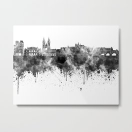 Prague skyline in black watercolor  Metal Print