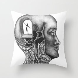 I can't believe that I'm freezing to death inside of my own head Throw Pillow