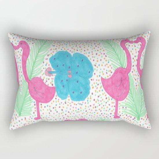 Flamingo Party Pattern Rectangular Pillow