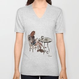 Coffee in Rice Village Unisex V-Neck