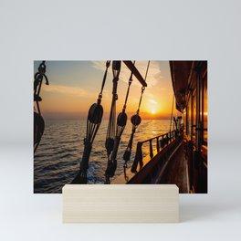 Sailing ship at sea Mini Art Print