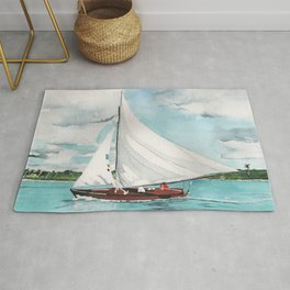 Sail Away watercolor painting of sailboat on turquoise waters Rug