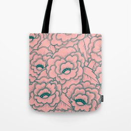 Flowers and leaves pattern - pink and green Tote Bag