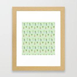 Modern pastel green pink trendy cactus floral pattern Framed Art Print
