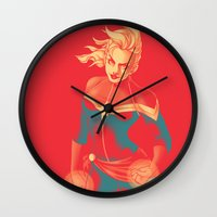 captain swan Wall Clocks featuring Captain by SandraG.N.